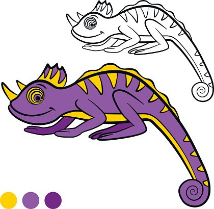 Coloring Page Color Me Chameleon Little Cute Chameleon Clipart