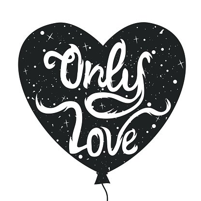 Vintage Style Vector Typography Poster With Heart Shape Balloon Silhouette