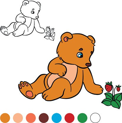 Coloring Page Color Me Bear Little Cute Baby Bear Clipart