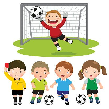 Set Of Cartoon Soccer Kids With Different Pose Clipart Image