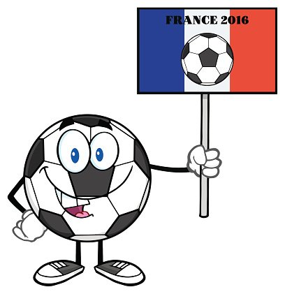 Soccer Ball Holding Up A France 2016 Sign