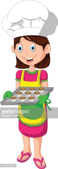 cute mom cartoon with food