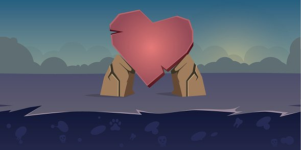 Mobile Game Background Heart Stone Day