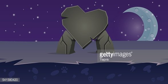 Mobile Game Background Heart Stone Night