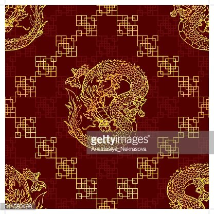 Seamless pattern cunning gold Asian dragon on red