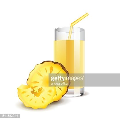 Pineapple juice isolated on white vector