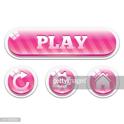 Set of pink striped glassy vector buttons