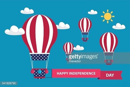 American independence day greeting card with hot air balloons.