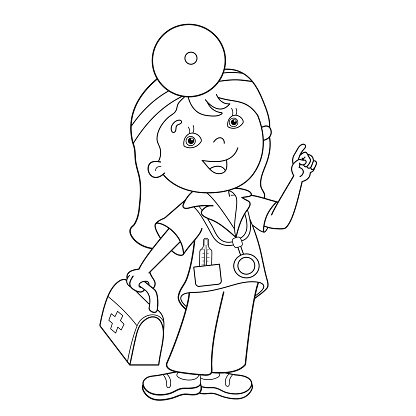 Coloring Page Outline Of Cartoon Doctor With First Aid Kit Premium