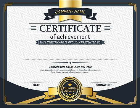 Gold Medal Certificate Diploma Blue Backgorund Template Vector