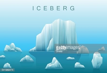 Vector background of icebergs and sea