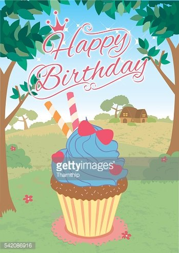cupcakes princess happy birthday card jungle