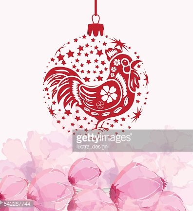 Chinese new year with rooster. Blossom background