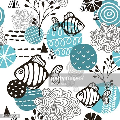 Seamless pattern with l fish in northern sea.