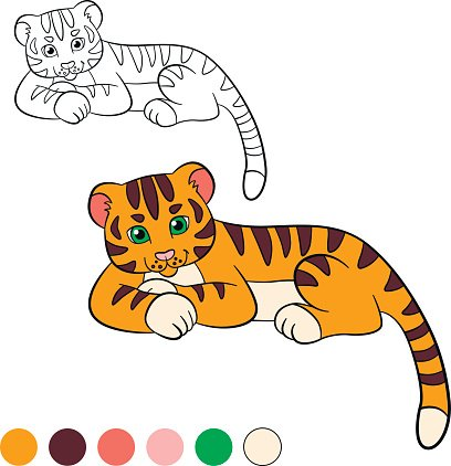 Coloring Page Color Me Tiger Little Cute Baby Tiger Smiles