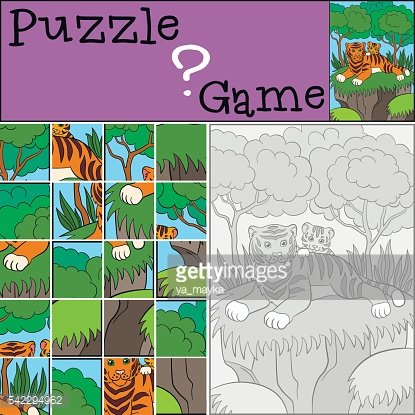 Education games for kids. Puzzle. Mother tiger with her baby