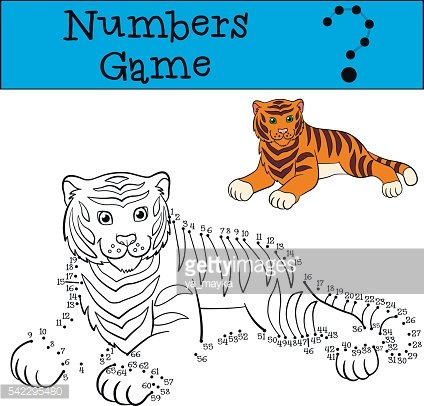 Educational games for kids: Numbers game. Cute tiger smiles.