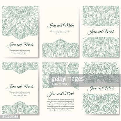 Set of wedding invitations. Wedding cards template with individual concept.
