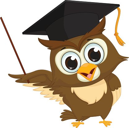 Cartoon Wise Owl With Pointer Giving Educational