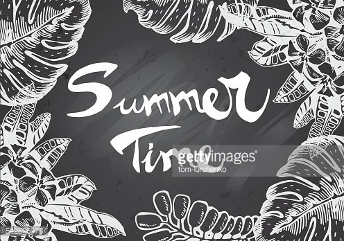 Chalkboard Frame with Summer tropical elements
