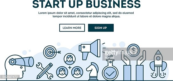 Start up business, concept header, flat design thin line style