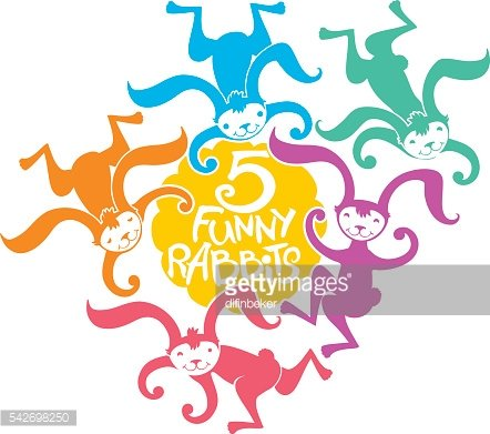Five silhouettes bright multicolored rabbits jump.