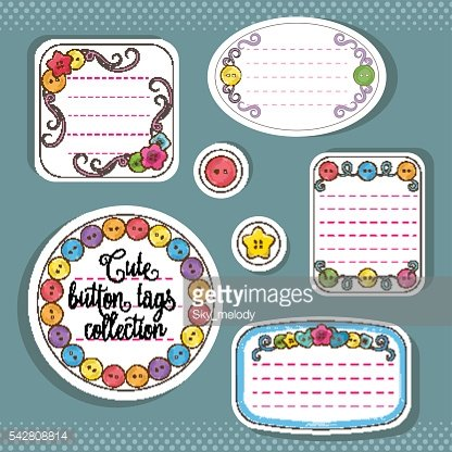 Vector set of cute bright colorful buttons tags and stickers.
