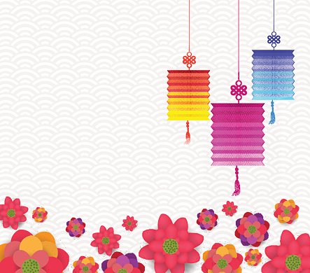 oriental happy chinese new year blooming flowers and lantern design
