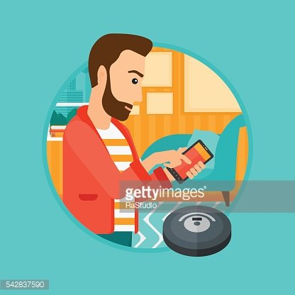 Man controlling vacuum cleaner with smartphone.
