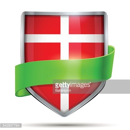 Shield with flag Denmark and ribbon.
