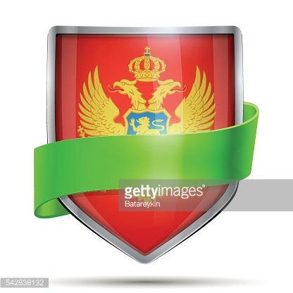 Shield with flag Montenegro and ribbon.