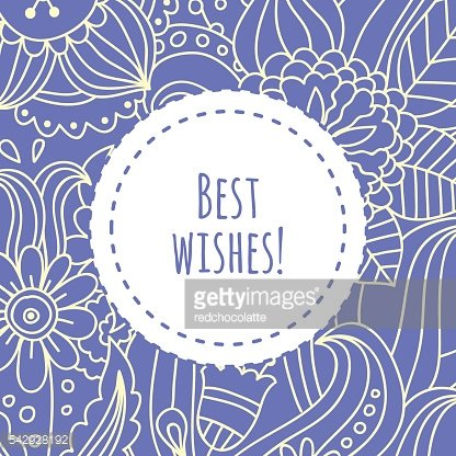 Best wishes floral card design for birthdays and weddings