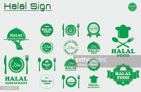 Halal food labels vector set