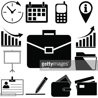 Business signs set. Flat icon vector illustration