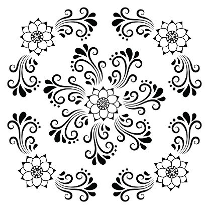 Hand drawing decorative tile frame. Classical floral ornament.
