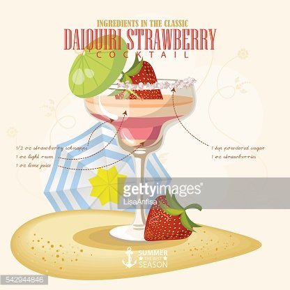 Vector illustration of alcoholic cocktail. Daiquiri strawberry club alcohol shot.