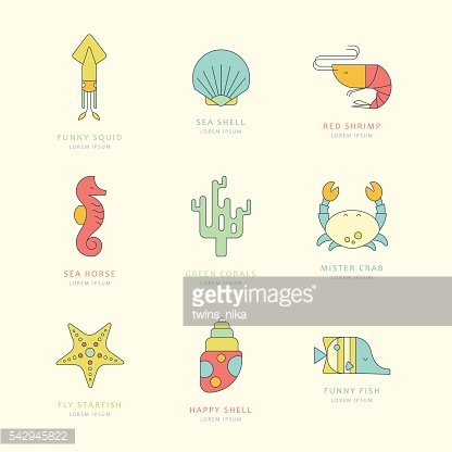 Nautical labels with sea creatures. Vector illustration.