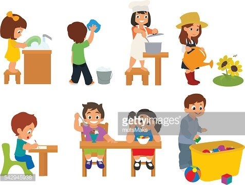 children help their parents with household chores