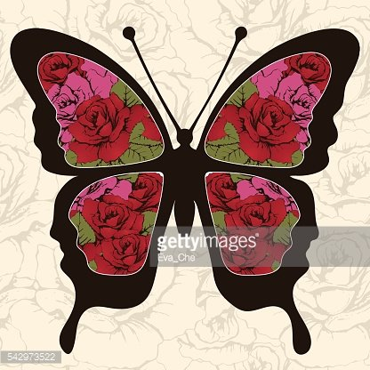 Abstract butterfly with ornaments of roses flowers