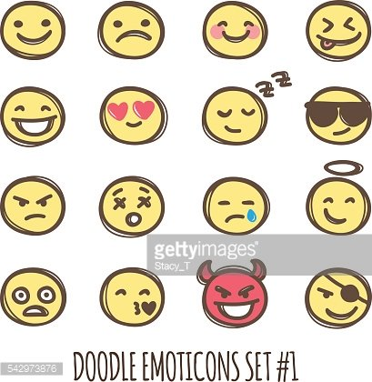 Vector cute doodle style emoticons collection. Black and white emoji