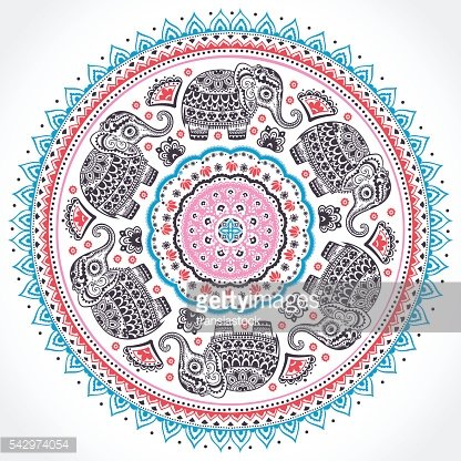 Indian ethnic mandala ornament with tribal aztec elephants