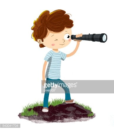 Person with a spyglass or telescope