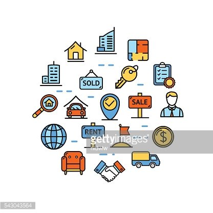Real Estate Round Design Template Thin Line Icon. Vector