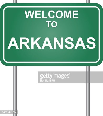 Welcome to State of Arkansas, green signal vector