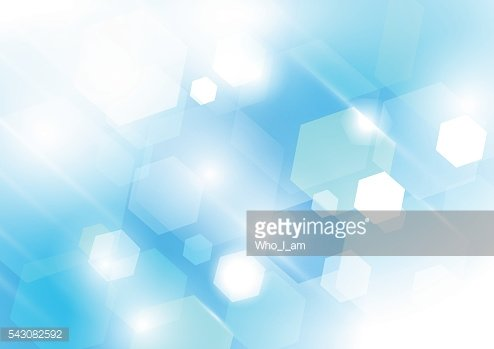 Blue and white abstract bokeh background. Hexagon concept