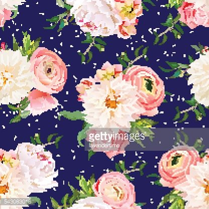 Navy blue ranunculus bouquets seamless vector design print.