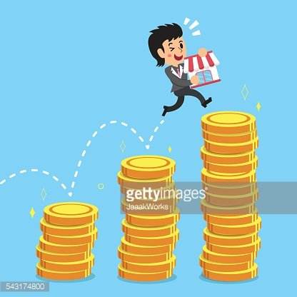 Businesswoman jumping over money stacks with her business