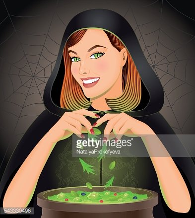 Witch brewing magic potion in cauldron