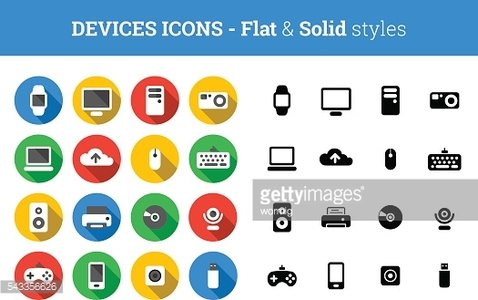 Devices and technology icons – flat and solid style