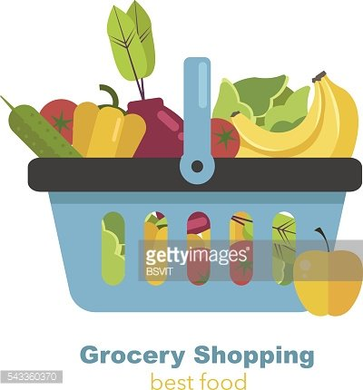 Shopping basket full of fruits and vegetables. Healthy organic food